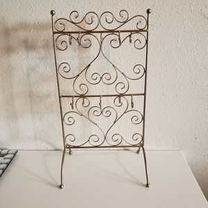 Gold Metal jewelry holder with clear bead accents